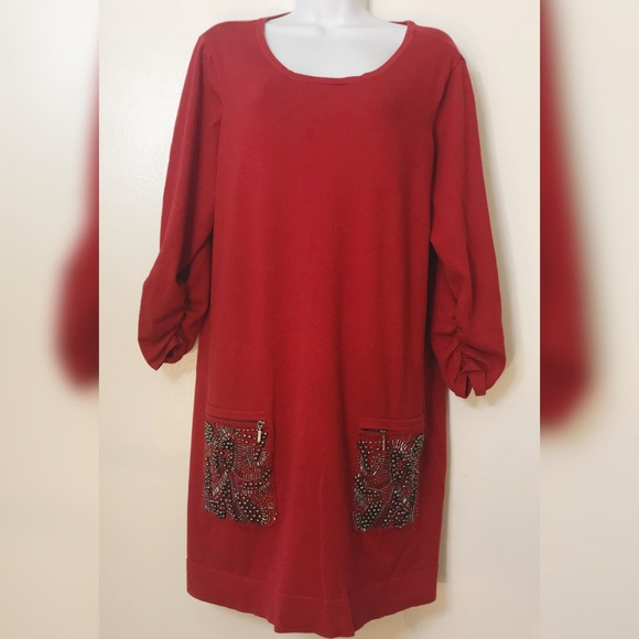Alfani Red sweater dress with bead detail